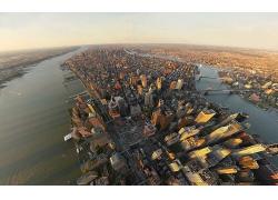 紐約市美國城市鳥瞰圖大河風景風光景觀照片