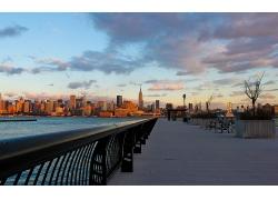 紐約市城市建筑渡江大橋風景風光景觀照片