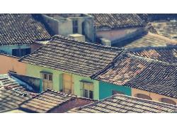 贫民窟房屋瓦房老房子乡村房屋屋顶风景风光景观