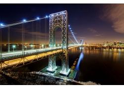 美國城市建筑夜晚華盛頓大橋燈火岸邊風景風光景觀照片