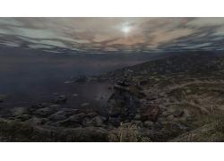 天空岩石石头海滩夜晚风景风光景观照片