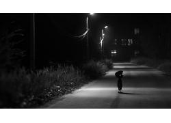 道路夜晚路燈風景人物風光景觀照片