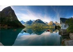 山川河流蓝天白云自然景观风景风光照片