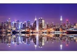美國紐約市城市建筑高樓夜晚燈光風景風光景觀照片
