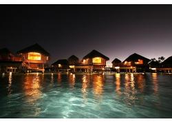 度假酒店旅館夜間晚上海上海灘海島風景風光照片