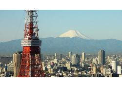 日本東京東京塔富士山雪山天空風景風光景觀照片