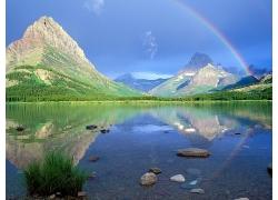 大山湖泊彩虹草地风景风光景观照片