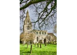 草地草坪教堂墓地公墓外国建筑高清图片