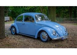 蓝色汽车复古老爷车轿车高清图片