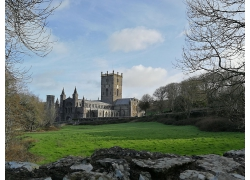复古建筑教树木堂城堡草地外墙外观高清图片
