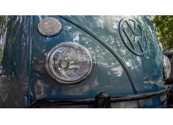 大众蓝色深蓝色汽车头部轿车头部射灯高清图片