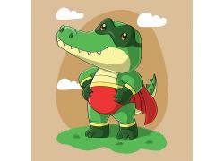 可爱小动物绿色大鳄鱼卡通动物卡通形象图片