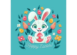 可爱开心小白兔小动物卡通动物卡通形象图片