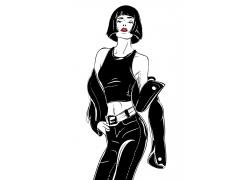 时尚女性人物酷女孩杂志封面海报广告黑白图片