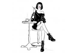 咖啡吧台时尚女性人物酷女孩杂志封面海报广告图片
