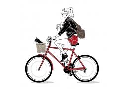 骑自行车动漫人物时尚女性人物酷女孩杂志封面海报广告图片