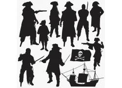 加勒比海盗海贼船海盗船骷髅头旗帜黑色纯黑色图片