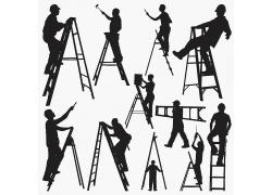 楼梯爬楼梯瓦工水泥工建筑工人工作现场黑色纯黑色图片