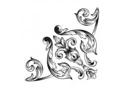 金属质感复古黑色树叶花纹底纹背景树叶花纹花边不锈钢金属制品设