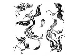 手繪精美矢量孔雀鳥