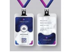 简约时尚大方蓝色紫色圆角公司办公楼门禁卡封面员工工作证卡片矢