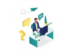 现代商务办公室办公在线客户服务3D效果图设计图矢量图