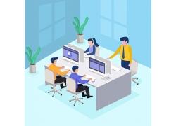 现代商务贸易公司员工办公室电脑平面设计图矢量图