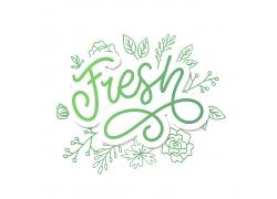 清新绿色白色字体文字绿色花边设计图案矢量图