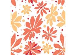 矢量花朵和圆点底纹背景