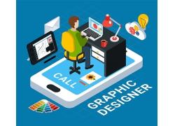 简约彩色漫画手绘电脑绘画设计师办公室设计图矢量图