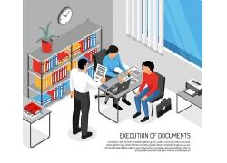 简约彩色漫画手绘电脑绘画办公人员办公室会议开会矢量图