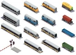 简约火车动车汽车运输车大型交通工具模型图矢量图