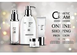 高端白色化妝品護膚品海報設計