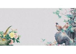 简约大气花鸟图案中国国画毛笔画中式传统古典底纹背景设计模板