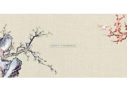 简约大气花梅花图案中国国画毛笔画中式传统古典底纹背景设计模板