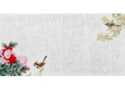 简约大气花鸟图国画毛笔中式传统古典底纹背景设计模板