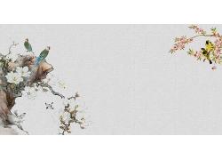 简约大气花鸟图中式传统古典底纹背景设计模板