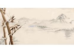 简约大气山水图毛笔画中式传统古典底纹背景设计模板