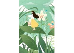 简约可爱女孩花朵树木手绘背景夏天插画海报设计模板