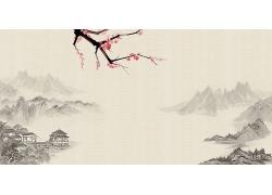 简约大气山水风景图毛笔画中式传统古典底纹背景设计模板