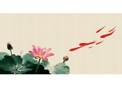 简约大气清秀荷花金鱼中式传统古典底纹背景设计模板