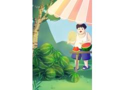 简约可爱胖男孩吃西瓜夏季夏天手绘卡通插画海报夏季美食设计模板