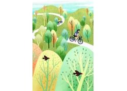 简约可爱女孩树木林骑自行车飞鸟立夏夏季夏天手绘卡通插画海报夏