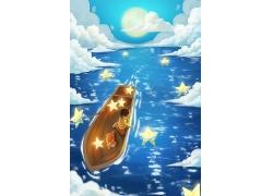 可爱梦幻卡通女孩发光的五角星手绘海报背景插画素材设计模板