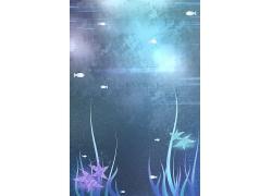 可爱梦幻卡通鱼儿海洋植物夜晚手绘海报背景插画素材设计模板