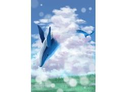 简约可爱创意鲸鱼鲲鱼蓝色天空飞翔卡通梦幻插画素材手绘海报素材