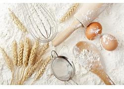 简约细粉小麦面粉天然美食食品白色粉末海报背景高清图片
