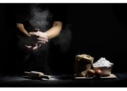 简约小麦面粉揉粉天然美食食品白色粉末海报背景高清图片