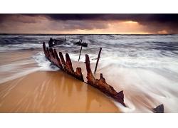 优美美丽海滩沙滩天空晚霞美景高清图片