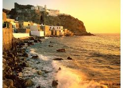 优美美丽天空海上大海海滩沙滩建筑房屋景观美丽风景高清图片